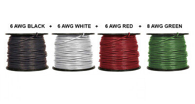 80/' EA THHN THWN 6 AWG GAUGE BLACK WHITE RED COPPER WIRE 80 8 AWG GREEN