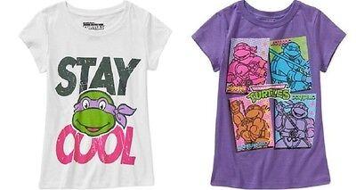 Teenage Mutant Ninja Turtles Girls T-Shirts White or Purple Various Sizes NWT