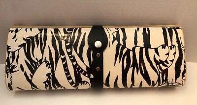 (Vintage Magazine Clutch Bag Purse Tiger Striped Cover Hard Plastic Authentic 80s)