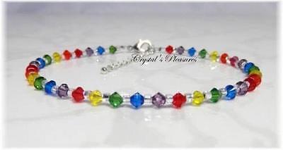 "9.5"" Rainbow Swarovski Crystal Element Ankle Anklet Bracelet"