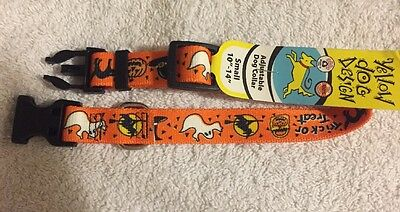 "Halloween Themed Small Size Dog Collar (10""-14"") by Yellow Dog Design"