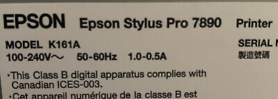 Epson Stylus Pro 7890 Wide Format Inkjet Printer Model K161a