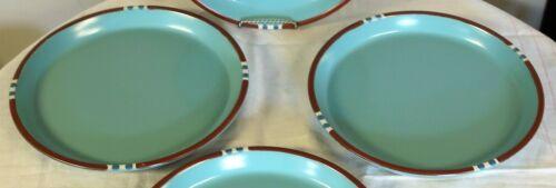"""Dansk Mesa Dinner Plates 10 1/2"""" in Turquoise brown & white Set of 2"""