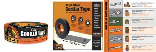 "Gorilla Tape, Black Duct 1.88"" x 35 yd, Black,"