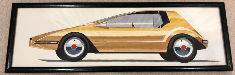 RARE CONCEPT CAR DRAWING BY GM CHIEF BUICK STYLIST NED F NICKLES FIERO RIVIERA