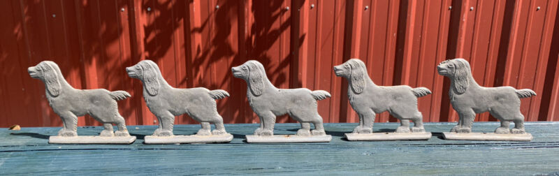 Lot Of (5) Aluminum Cocker Spaniel Dog Fence Gate Toppers Vintage