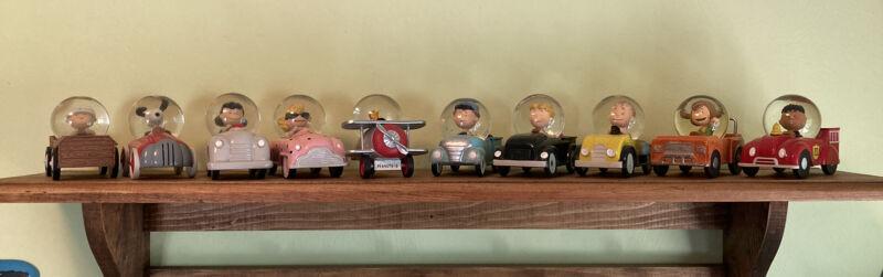 RARE Hallmark Peanuts Gallery COMPLETE SET Snow-globe Cars Snoopy Charlie Lucy