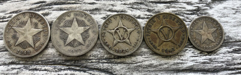 Foreign Coin Lot 20, 10, 5 Centavos 1920 1948 1943