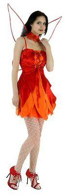 New Red Fairy Firefly Dress & Wings Fancy Dress Costume UK Sizes 8 - 16 - Firefly Wings