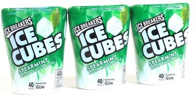 3 Pack Ice Breakers Cubes 40 Piece Spearmint Long Lasting Flavor Sugar Free Gum](Flavored Ice Cubes)