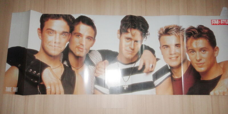 "Take That Robbie Williams 11 x 33 "" PIN UP POSTER Thailand Magazine Clipping"