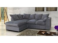 L SHAPE CORNER SOFA IN BLACK OR BROWN FAUX LEATHER GREY BEIGE FABRIC NEW
