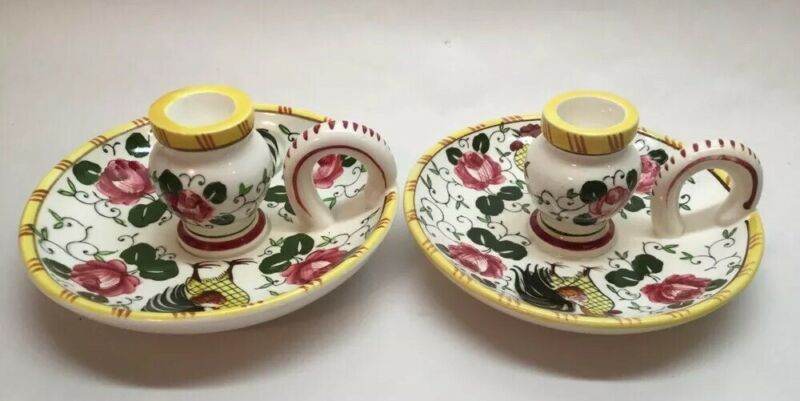 Pair Early Provincial Candlestick Holders Birds Roosters Signed Japan Yellow Vtg