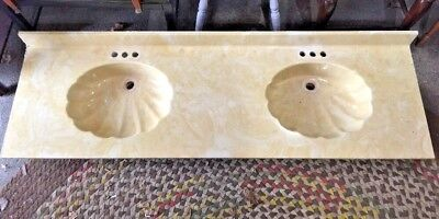 Vintage Double Sink Vanity Counter Top Seashell Yellow Cultured Marble  73