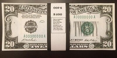 $400 In 1928 $20 Play Money Bills United States Prop Money USA Actual Size 20 Pc