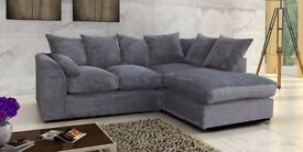 Same Day Fast Delivery! New Dylan Jumbo cord Sofa Corner or 3+2 Mink, Brown, Black, Grey And Beige