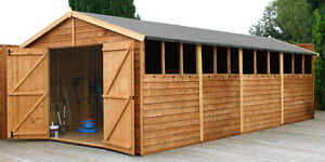 20ft x 10ft WOOD GARDEN SHED 20 x 10 WOODEN SHEDS NEW TIMBER WORKSHOP APEX ROOF