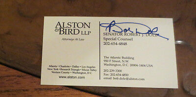Kansas Senator Bob Dole signed autographed business card