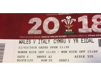 2 x Rugby tickets - Wales v Italy Sunday 11 March - front block