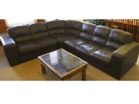 7 Seater Dark Brown Leather Sofa