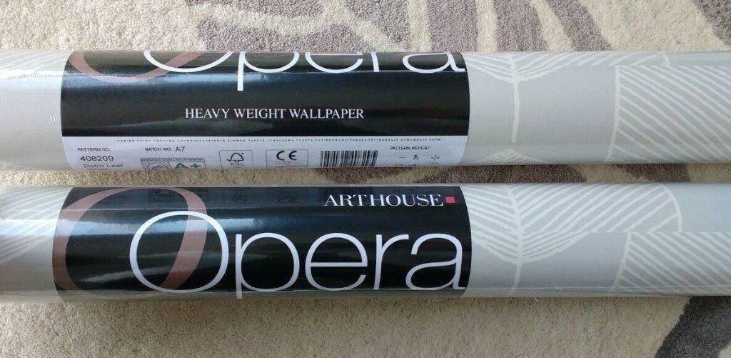 2 x Rolls of Arthouse Opera 'Retro Silver Leaf' Heavy Weight Wallpaper