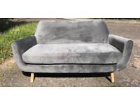 Made Jonah Grey Velvet Sofa