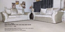 VAGUS CRUSHED VELVET MINK 3+2 SEATER SOFA | 1 YEAR WARRANTY | EXPRESS DELIVERY ALL UK