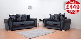 BRAND NEW PARIS 3 SEATER AND 2 SEATER IN BLACK AND GREY FABRIC