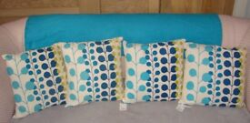 Cushions x4 (2 New with tags and 2 very light use) - Oria Kiely Inspired Design - Collection (NR2)