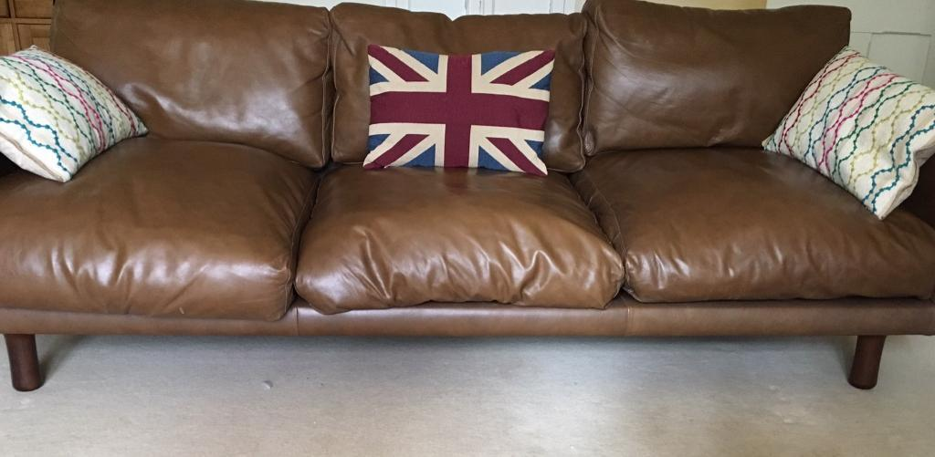 Made leather 3 seater sofa brown