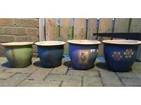 Set of glazed ceramic plant pots