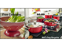 NEW STOCK- 5 Piece Pan Set with free colander and a 2 year guarantee.