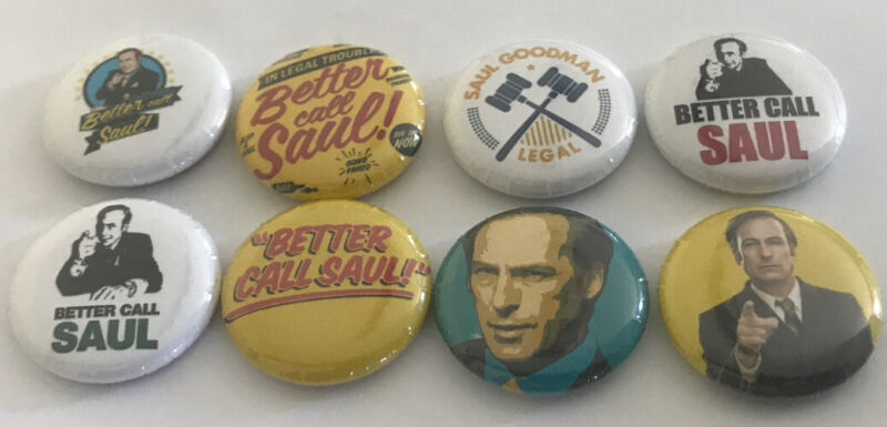 Better Call Saul Breaking Bad Spin Pin Lot 8 Pins Meth Lawyer Legal Set Button