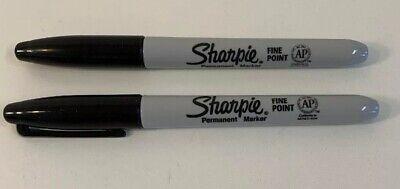 Lot Of 2 Sharpie Marker Pens Black Fine Point Permanent Marker New