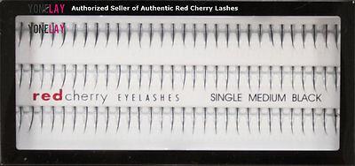 1 GENUINE RED CHERRY Medium Single Flare Individual Lash False Eyelashes Lashes