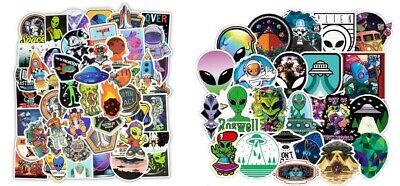 Lot de 100 stickers autocollants thème Aliens, ovnis, martiens ...