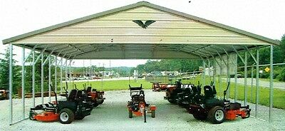 30x26x8 Triple-wide Steel Carport - Vertical Roof Free Installation Nation-wide