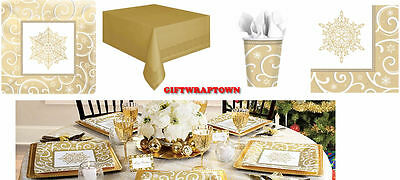 CHRISTMAS GOLD PATTERN PARTY PLATES,NAPKINS, CUPS, TABLECLOTH *FREE POSTAGE! *