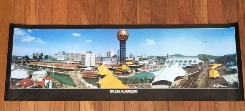 """Vintage 1982 Worlds Fair Knoxville, Tennessee Panorama Poster - 12"""" x 36""""  MINT!"""