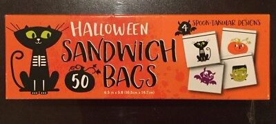 Box Of 50 Halloween Sandwich Size Plastic Kitchen Food Storage Bags