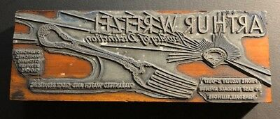 Vintage Letterpress Wood Print Block Arthur Retzel Jewelry Ad Hinsdale Illinois