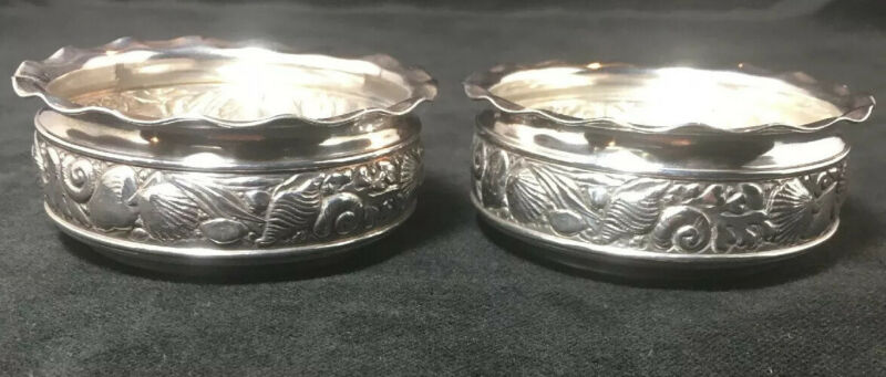 Pair Of Gorham Sterling Silver Narraganset Style Open Salt Cellars Sea Life