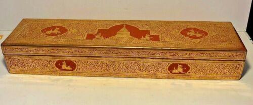 Antique Red and Gold Lacquerware Prayer Box Burma Burmese