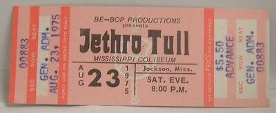 JETHRO TULL - VINTAGE 1975 UNUSED WHOLE CONCERT SHOW TICKET