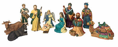 Traditions 12 Piece Hand Painted Christmas Porcelain Nativity Set Gold Accents