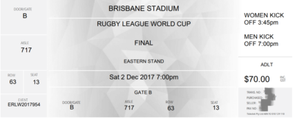 RLWC (Rugby League World Cup) 2017 - FINAL (2/Dec) - adult entry