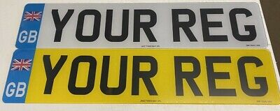 Pair F&R Road Gb UNION JACK Legal/show number plates printed quality free post