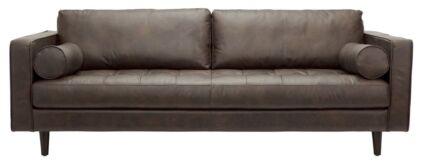 Travolta 3-seat leather sofa in brown Wollstonecraft North Sydney Area Preview