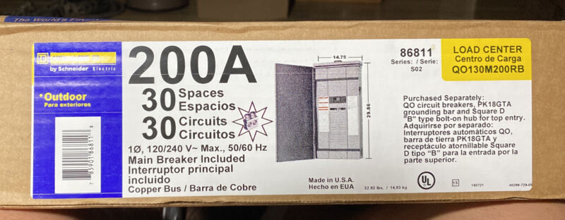 Square D Main Breaker 200 Amp 30-Sp 30-Cir QO Outdoor Load Center ✌️