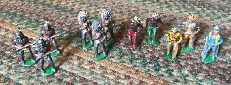 Vintage Barclay Manoil Lot Of 11 NATIVE AMERICAN INDIAN & Cowboy LEAD FIGURES
